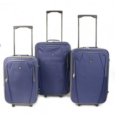 Copenhague - Set de 3 valises textiles bleues