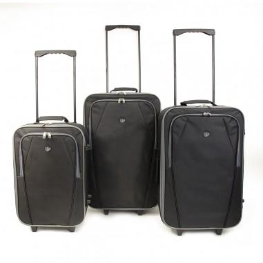 Copenhague - Set de 3 valises textiles noires