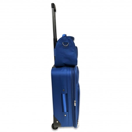 Milos - Set d'une valise cabine renforcée bleue et son Vanity assorti