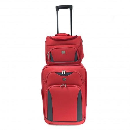 Milos - Set d'une valise cabine renforcée rouge et son Vanity assorti