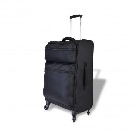 Göteborg - Set de 3 valises textiles Noires à poignée confort