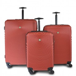 Seattle - Set de 3 valises rigides Rouge. Coque ABS motifs 3D