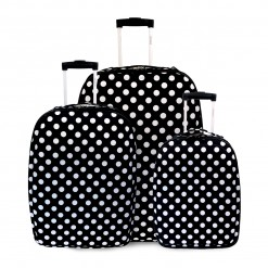 ALICANTE - SET DE 3 VALISES TEXTILE IMPRIME NOIR A POINTS BLANCs