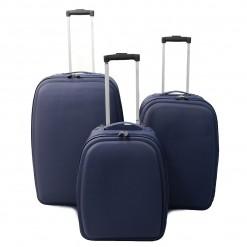 Tallinn - Set de 3 valises textile renforcé bleu foncé