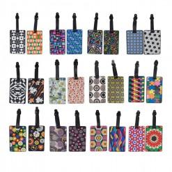 """Lot de 2 porte-étiquettes motif """"Formes géométriques"""" pour bagages"""