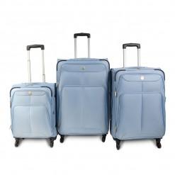 Prague - Set de 3 valises ultra-légères bleues à structure renforcée