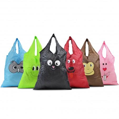 sac de course pliable en forme de tête de chat mignon- noir X6