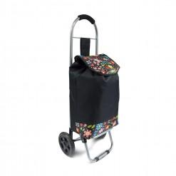 Chariot de course noir/fleurs 21L