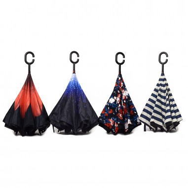 Parapluie inversé canne motifs imprimés