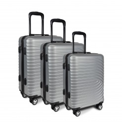 SET DE 3 VALISES ABS ARGENT 55/65/75cm