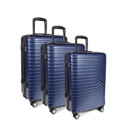 SET DE 3 VALISES ABS BLEU 55/65/75cm