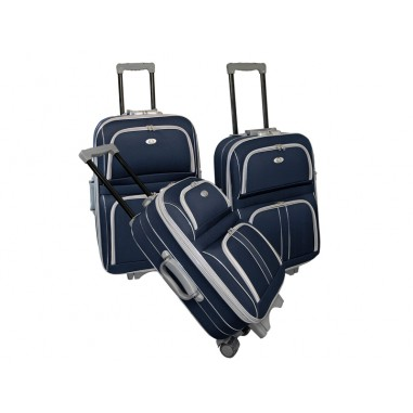 CAMBRIDGE- Set de 3 valises textiles bleues renforcées 3 roues
