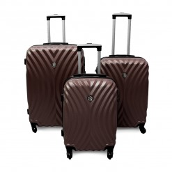 LAS VEGAS - Set de 3 valises rigides marron ABS - 4 roues