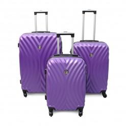 LAS VEGAS /  Set de 3 valises rigides violettes  ABS - 4 roues