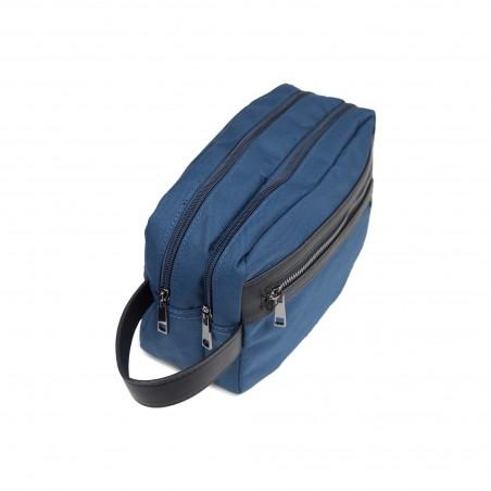 Trousse de toilette homme textile bleu grand modèle 25 x15cm