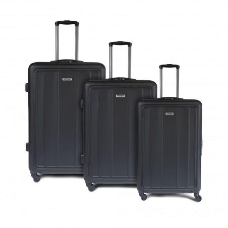 Set de 3 valises rigides ABS - noires - style business