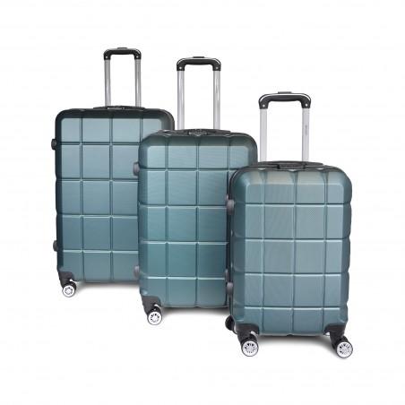 Set 3 Valises rigides ABS vert anglais motif carreaux -serrure TSA