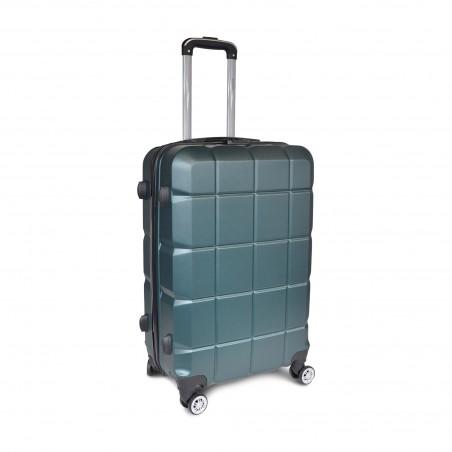 Valise rigide ABS vert anglais motif carreaux -serrure TSA