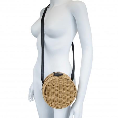 Sac à main femme eco friendly - tambourin paille 20cm