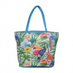 Grand Sac de plage perroquets dans la jungle - bleu 50X40cm