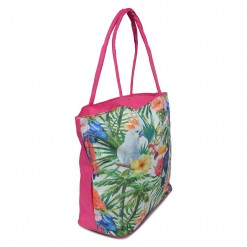 Grand Sac de plage perroquets dans la jungle - fushia 50X40cm
