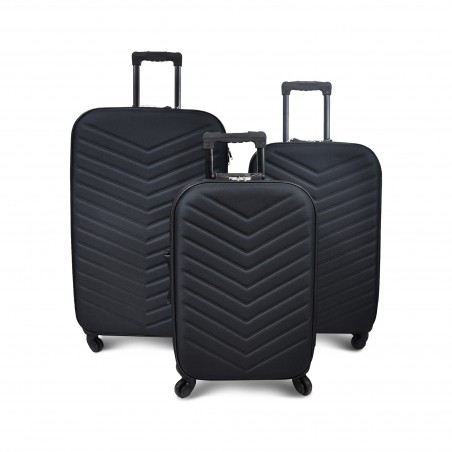 Set 3 valises textile noires avec serrure à code, 4 roues  et boussole intégrée a la poignée rétractable