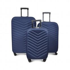 Set 3 valises textile Bleu nuit - serrure - 4 roues 360 degrés - boussole