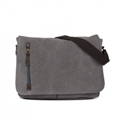 sac messager en textile 35cm - gris
