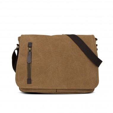 sac messager en textile 35cm - Marron