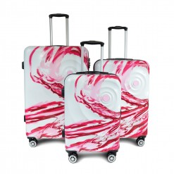 SET DE 3 VALISES ABS avec decor Rose