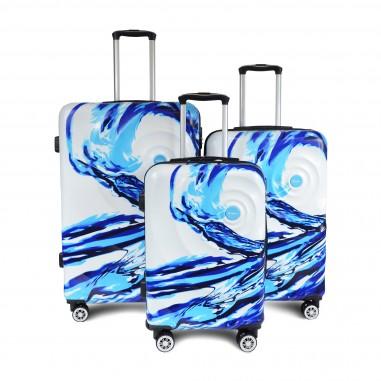 SET DE 3 VALISES ABS avec décor Bleu