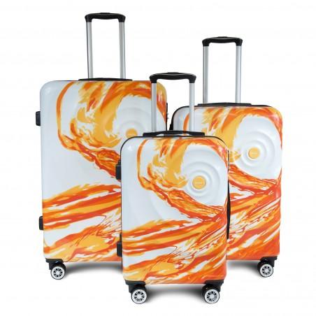 SET DE 3 VALISES ABS avec décor orange