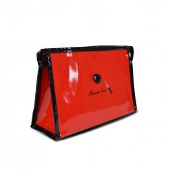Trousse de toilette Vinyle rouge brillant 25X15cm
