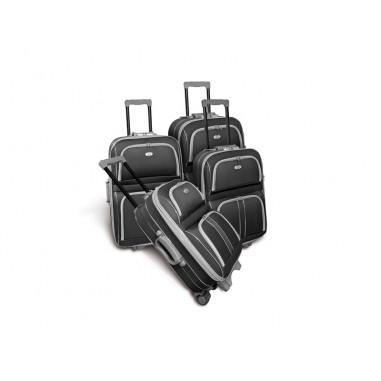 CAMBRIDGE BIS - Set de 4 valises textiles noires renforcées 3 roues