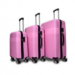 Lima - Set de 3 valises rigides Roses - 4 roues doubles à 360°