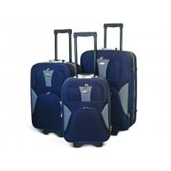 MUNICH - Set de valises textiles bleues à 3 roues