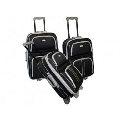 CAMBRIDGE- Set de 3 valises textiles noires renforcées 3 roues