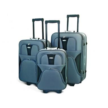 MUNICH - Set de valises textiles grises à 3 roues