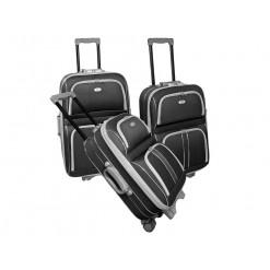 CAMBRIDGE- Set de 3 valises textiles grises renforcées 3 roues