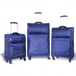 Göteborg - Set de 3 valises textiles Bleues à poignée confort
