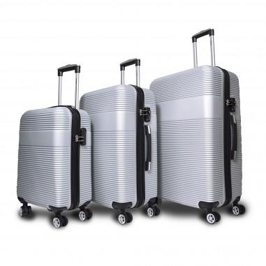 Lima - Set de 3 valises rigides Argent - 4 roues doubles à 360°