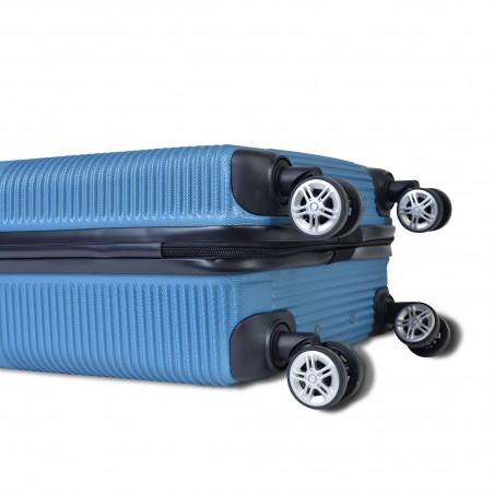 Lima - Set de 3 valises rigides Bleues - 4 roues doubles à 360°