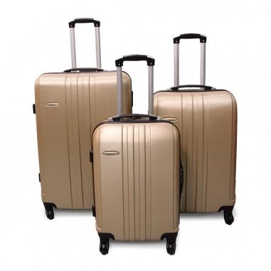 Vancouver - Set de 3 valises rigides ABS Champagne - 4 roues à 360°