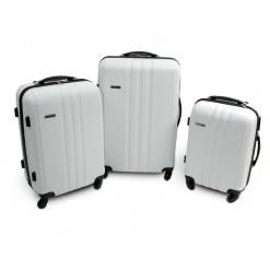 Vancouver - Set de 3 valises rigides ABS Ecru - 4 roues à 360°