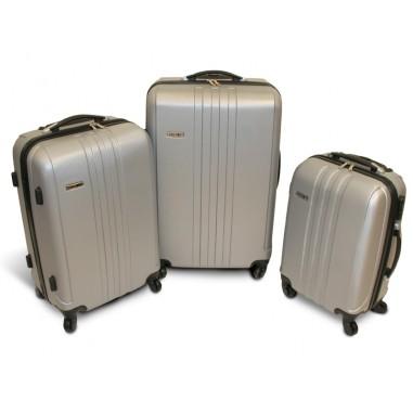 Vancouver - Set de 3 valises rigides ABS Gris Clair - 4 roues à 360°