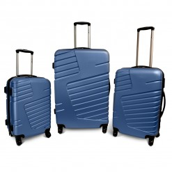 OKINAWA - Set de 3 valises rigides bleu 4 roues multidirectionnelles