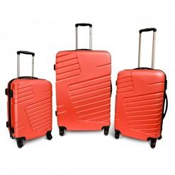 OKINAWA- Set de 3 valises rigides rouges 4 roues multidirectionnelles