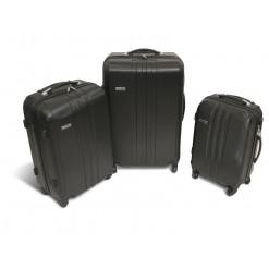 Vancouver - Set de 3 valises rigides ABS Noires - 4 roues à 360°