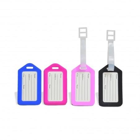 Lot de 4 porte-étiquettes pour bagages - 4 coloris