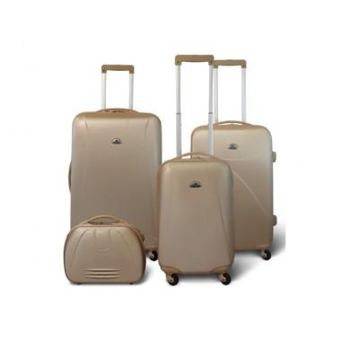 Washington - Set de 3 valises rigides + Vanity- Couleur Champagne